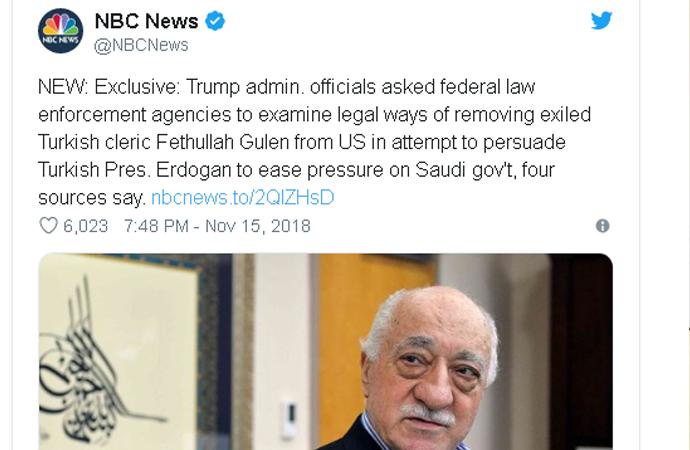 """NBC televizyonunda """"Gülen'in iadesi araştırılıyor"""" iddiası"""
