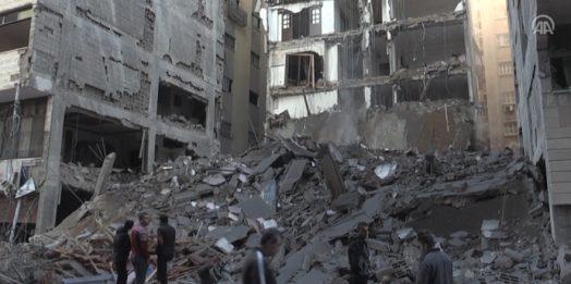 İsrail'in saldırılarında birçok bina enkaza dönüştü