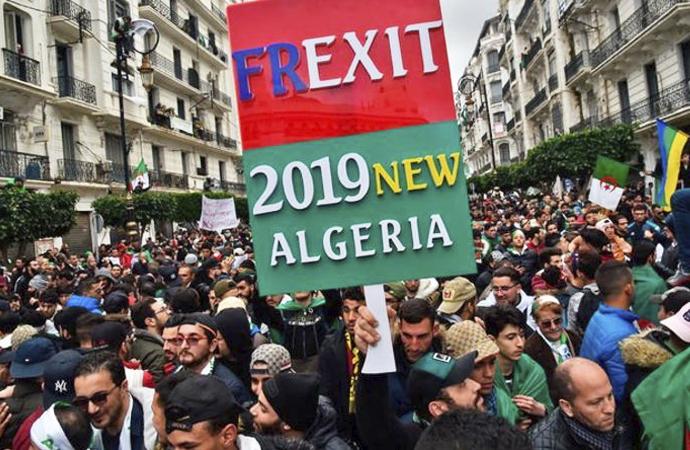 Buteflika karşıtı gösterilerde Fransa aleyhine sloganlar
