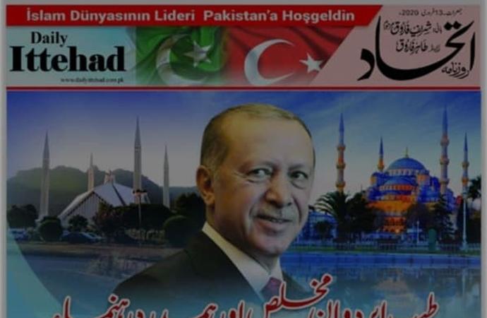 """Pakistan gazetesinde """"İslam dünyasının lideri"""" manşeti"""