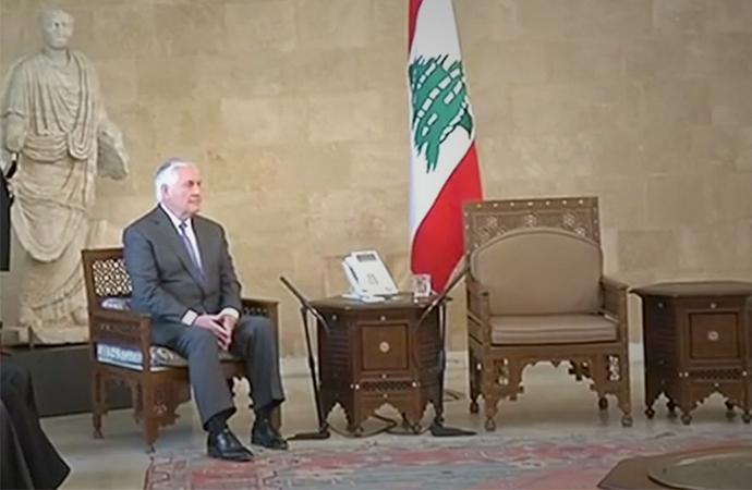 Tillerson'ın Lübnan'daki zor anları TV'den canlı yayınlandı