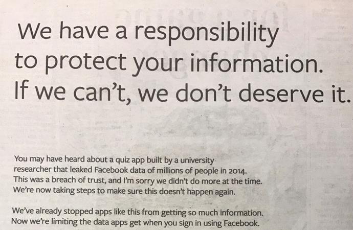 Facebook, İngiliz gazetelerinde tam sayfa özür ilanı yayınlattı
