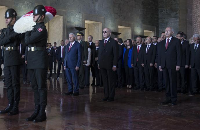 23 Nisan için ilk tören Anıtkabir'de yapıldı