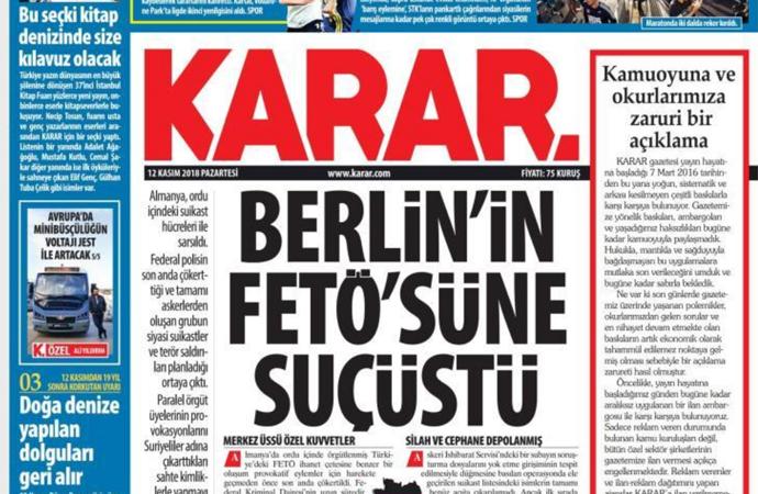 Karar gazetesinden 'zaruri' açıklama