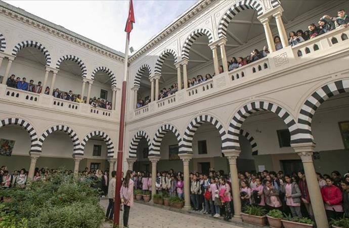 Tunus'ta okullarda 'Filistin'le dayanışma' etkinliği