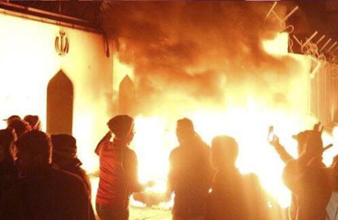 Necef'teki İran konsolosluğu 3'üncü kez ateşe verildi