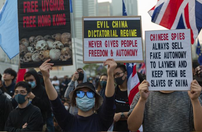 Hong Kong'da Uygurlara destek gösterisi