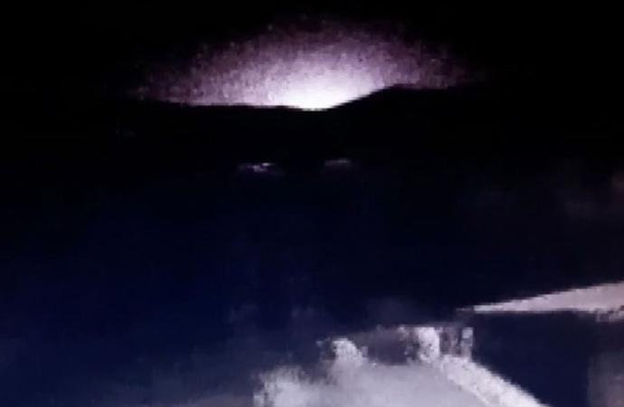 Elazığ'da deprem sırasında ortaya çıkan ışık patlaması