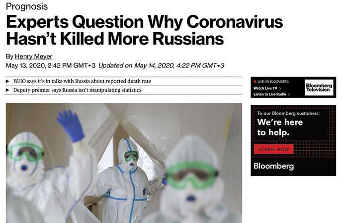 Bloomberg'de 'Koronavirüs niçin daha fazla Rus'u öldürmüyor?' başlığı