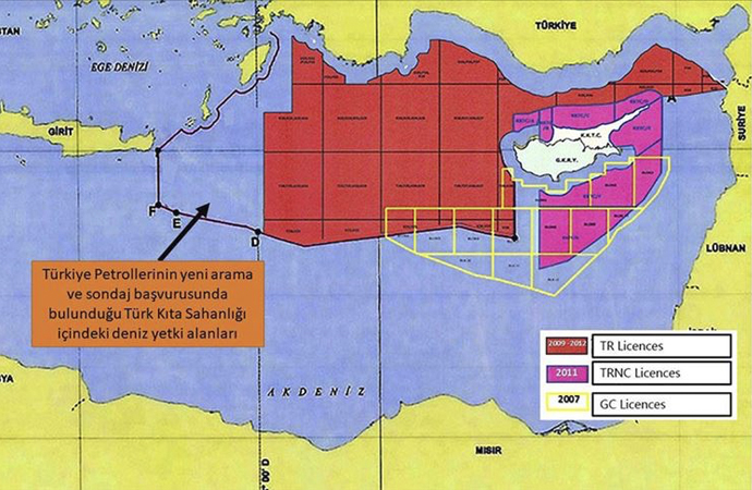 Dışişleri Bakanlığı, ruhsat başvurusu yapılan sahaların haritasını yayınladı