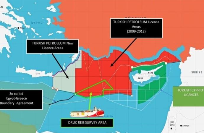 Bakanlık, Oruç Reis gemisinin faaliyet sahasını gösteren haritayı paylaştı