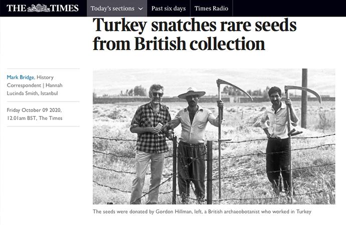 Times'tan, Türkiye İngilizlerdeki tohumlara el koydu iddiası