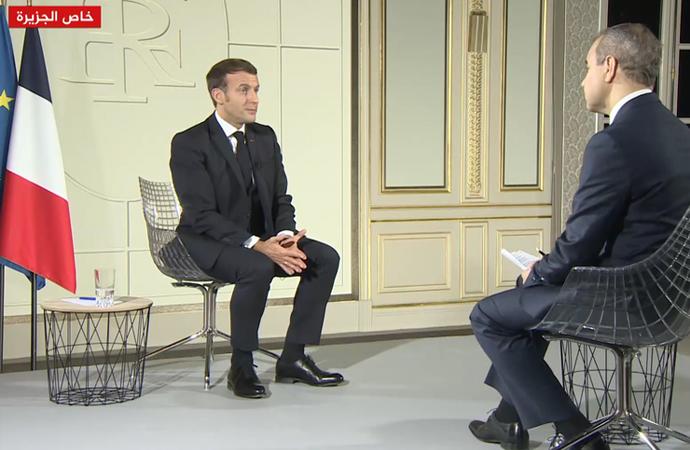 Macron, Katar'ın al-Jazeera kanalına konuştu