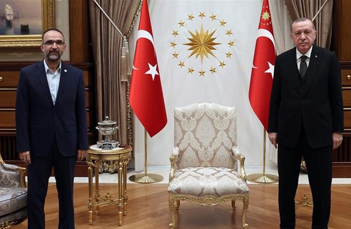 Erdoğan, HÜDAPAR Genel Başkanı Sağlam'ı kabul etti
