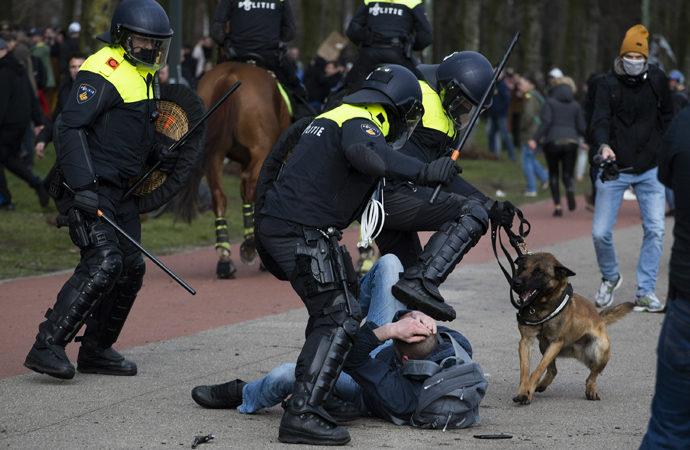 Hollanda'da kısıtlama karşıtlarına polis müdahalesi