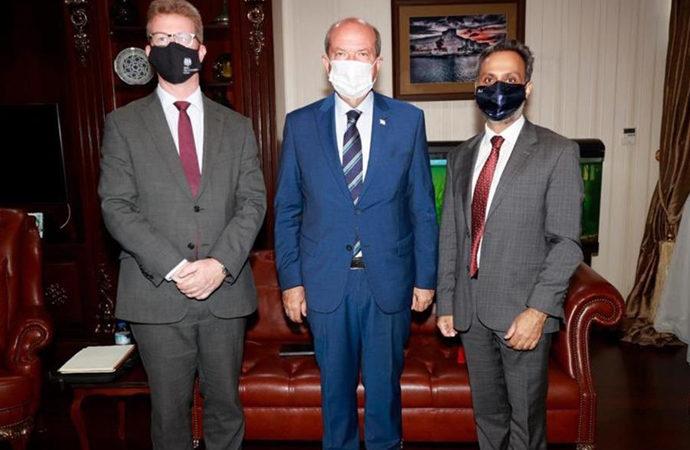 KKTC Cumhurbaşkanı, İngiliz diplomatlarla görüştü