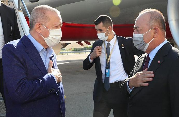 Erdoğan'ı ABD'de Mevlüt Çavuşoğlu karşıladı